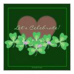 Heart & Shamrocks St. Patrick's Day Party 13 Cm X 13 Cm Square Invitation Card