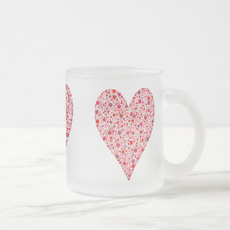 Heart Shape Crimson Polka Dots Frosted Glass Coffee Mug