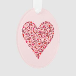 Heart Shape Crimson Polka Dots on Pink