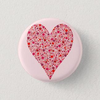 Heart Shape Crimson Polka Dots on Pink 3 Cm Round Badge