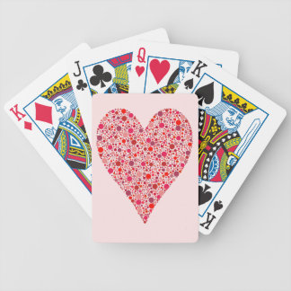 Heart Shape Crimson Polka Dots on Pink Bicycle Playing Cards