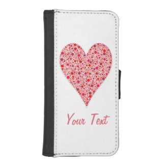 Heart Shape Crimson Polka Dots on Pink iPhone SE/5/5s Wallet Case