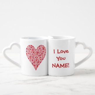 Heart Shape Crimson Polka Dots on Pink Lovers Mug