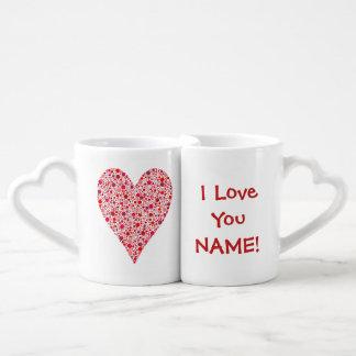 Heart Shape Crimson Polka Dots on Pink Lovers Mug Set
