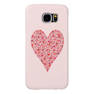Heart Shape Crimson Polka Dots on Pink Samsung Galaxy S6 Cases