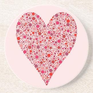 Heart Shape Crimson Polka Dots on Pink Sandstone Coaster