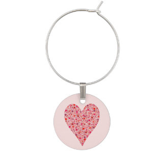 Heart Shape Crimson Polka Dots on Pink Wine Charm