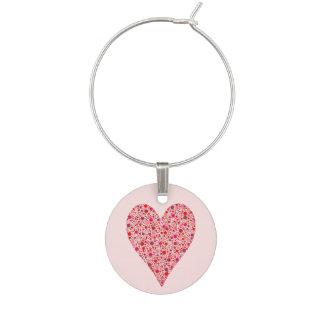 Heart Shape Crimson Polka Dots on Pink Wine Charm