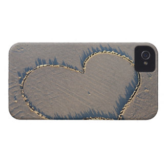 Heart shape drawn in the sand. iPhone 4 covers