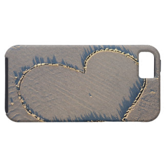 Heart shape drawn in the sand. iPhone 5 cases