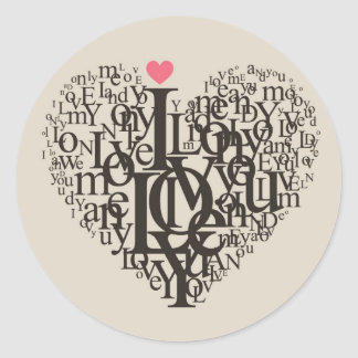 Heart shape from letters round sticker