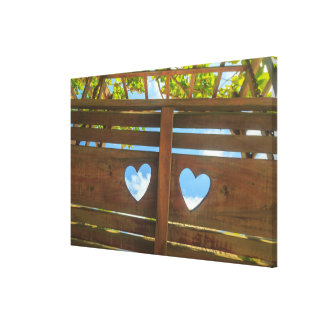Heart shape in a fence, Belize Canvas Print