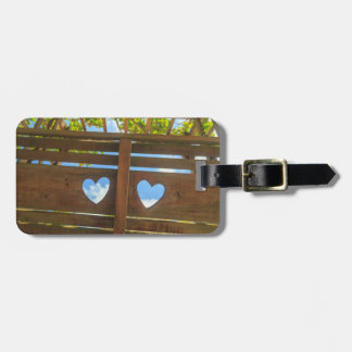 Heart shape in a fence, Belize Luggage Tag