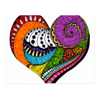 Heart shape on postcard - colored drawin