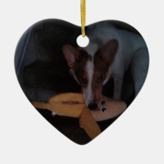 Heart shape Puppy dog with Banana ornament