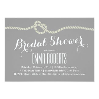 Heart Shape Rope Knot Bridal Shower Invitations