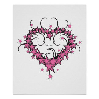 heart shape stars tattoo design poster