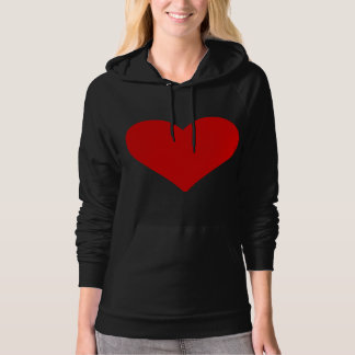 Heart Shape Valentine Love Romance Red Hooded Pullover