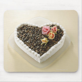Heart shape wedding cake with flower, close-up mouse mat