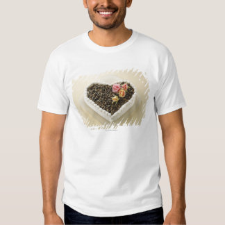 Heart shape wedding cake with flower, close-up t shirts