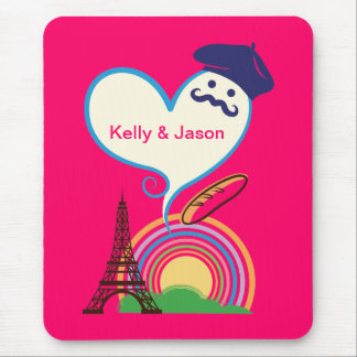 Heart shape with French icons and symbols Mouse Pad