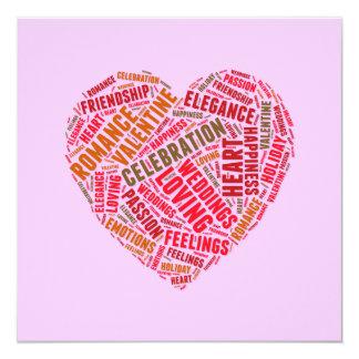 Heart shape words cloud 13 cm x 13 cm square invitation card