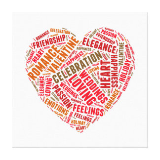Heart shape words cloud gallery wrapped canvas