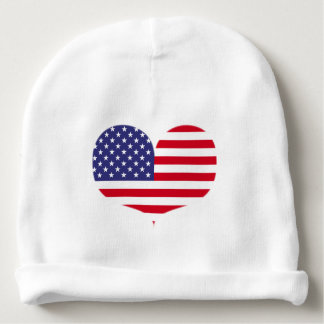Heart Shaped American Flag Baby Beanie
