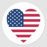 Heart-Shaped American Flag Classic Round Sticker
