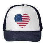 Heart-Shaped American Flag Mesh Hats