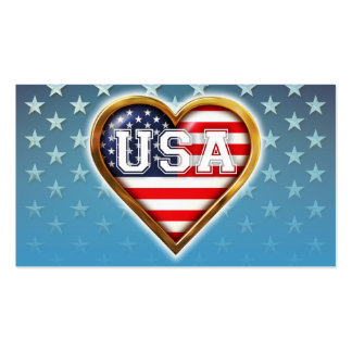 Heart-Shaped American Flag Pack Of Standard Business Cards