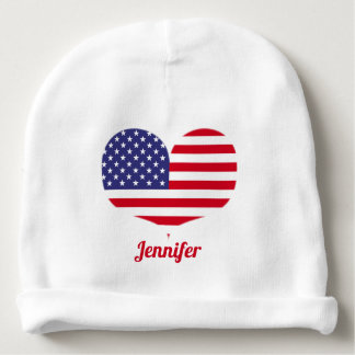 Heart Shaped American Flag | Personalized Baby Beanie