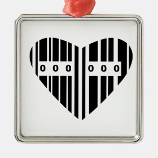 Heart Shaped Barcode Silver-Colored Square Decoration