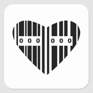 Heart Shaped Barcode Square Sticker