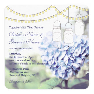 Heart-shaped Blue Hydrangea Mason Jar Wedding Card