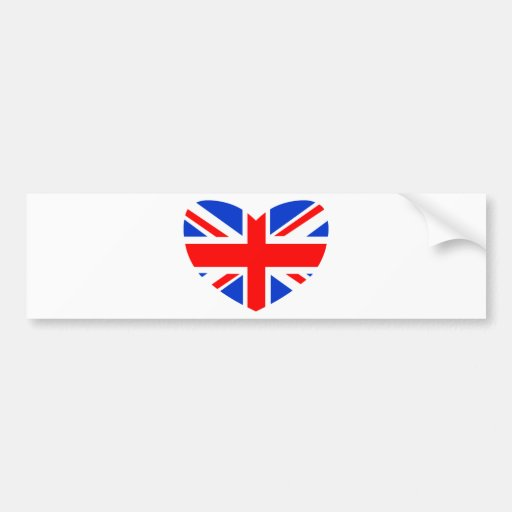 Heart Shaped British Flag Bumper Sticker