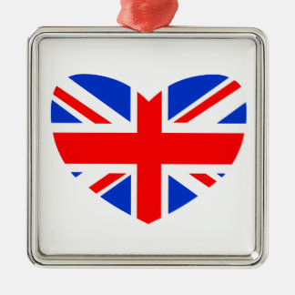 Heart Shaped British Flag Silver-Colored Square Decoration