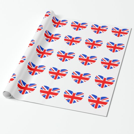 Heart Shaped British Flag Wrapping Paper