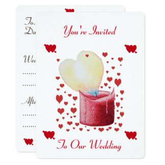 heart shaped buring flame red candle wedding 17 cm x 22 cm invitation card