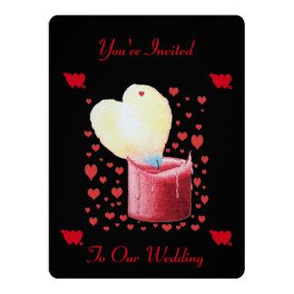 heart shaped buring flame romantic black wedding 17 cm x 22 cm invitation card