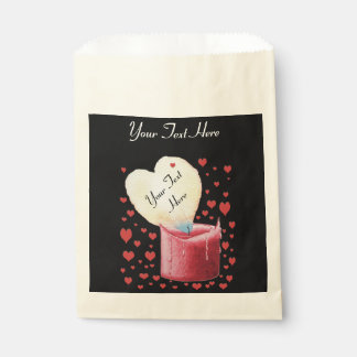 heart shaped buring flame romantic black wedding favour bags