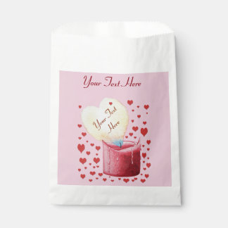 heart shaped buring flame romantic pink wedding favour bags