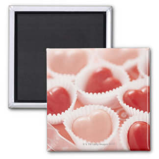 Heart-shaped candies square magnet