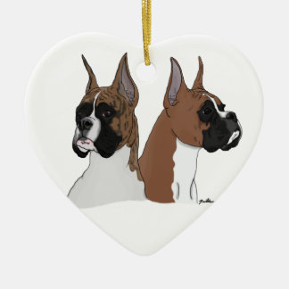 Heart-shaped ceramic boxer ornament