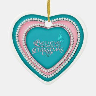 Heart Shaped Ceramic Ornament_AquaPink_2 Ornaments
