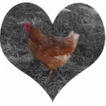 Heart Shaped Chicken Christmas Ornament Photo Cutout