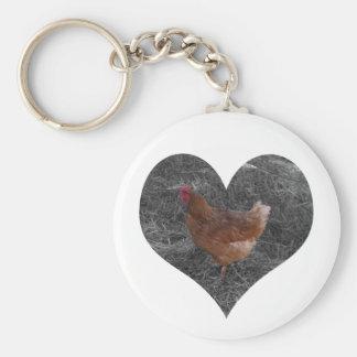 Heart Shaped Chicken Keychain