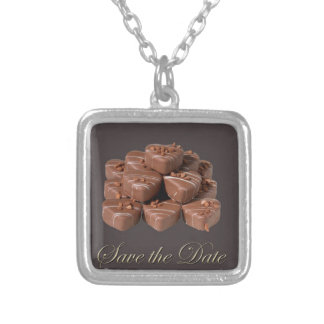 Heart Shaped Chocolates Silver Plated Necklace