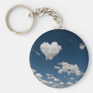 Heart shaped cloud basic round button key ring