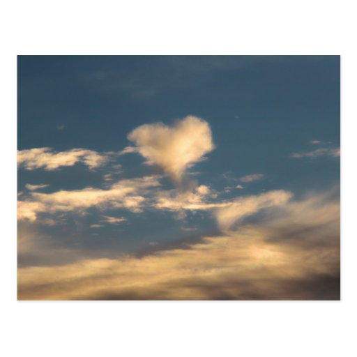 Heart shaped cloud postcard